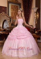 Baby Pink Organza Appliques Dresses for A Quinceanera