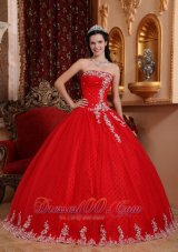 Strapless Tulle Lace Appliques Red Quinceanera Dress