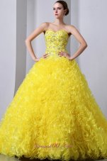 Princess Organza Yellow Beading and Ruffles Quinceanea Dress