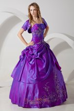 Sweet 16 Dress With Jacket Purple Taffeta Embroidery