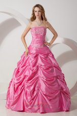 Rose Pink A-line Strapless Taffeta Appliqued Dresses 15