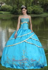 Blue Taffeta and Satin Embroidery 2013 Quinceanera Gowns