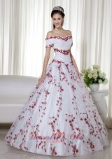 Off Shoulder Embroidery White and Red Quinceanera Dress