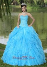 Ruffles Beaded Layered Aqua Blue Designer Quinceanera Dress