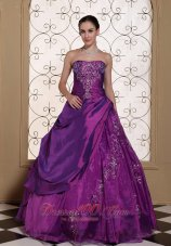 Purple Dresses for Quinceaneras Taffeta With Embroidery