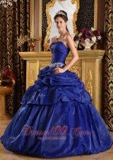 Discount Royal Blue Appliques Sweet 16 Dress