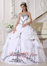 White Taffeta Black Embroidery Beading Sweet 16 Dress