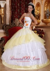 Light Yellow and White Strapless Dress for Quinceanera