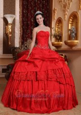 Amazing Red Quinceanera Dress Taffeta Appliques Beading