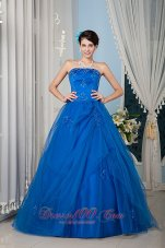 Royal Blue A-line Strapless Beading Quinceanera Dress