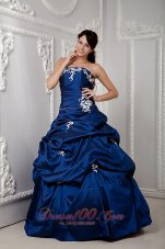 Royal Blue Sweetheart Sash Floor-length Dress for Quinceanera