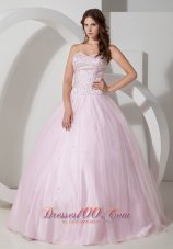 Baby Pink Sweetheart Bead Taffeta Tulle Quinceanea Dress