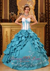 Teal Ruffles Embroidery Quinceanera Dress Floor-length