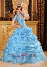 Aqua Blue Quinceanera Dress Appliques Sweetheart Organza