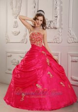 Hot Pink Strapless Appliques Ball Gown for Sweet 16 Organza