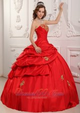 Elegent Red Sweetheart Sweet 16 Dress Floor-length Taffeta