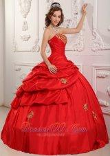 Elegent Red Sweetheart Sweet 16 Dress Floor-length Taffeta