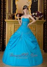 Blue Appliques Taffeta Floor-length Quinceanera Dress
