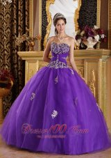 Purple Sweetheart Quinceanera Dress Appliques Floor-length