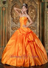 Spring Orange Sweetheart Appliques Quinceanera Dress