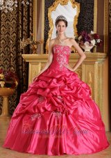 Hot Pink Appliques Bead Strapless Quinceanera Dress