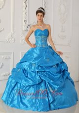2013 Blue Sweetheart Ruch Pick-ups Quinceanera Dress