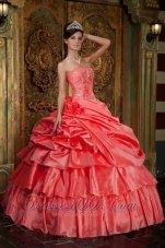 Watermelon Quinceanera Dress Beading Ruffles Floor-length