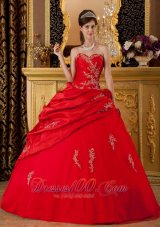 Red Appliques Sweetheart Floor-length Quinceanera Dress