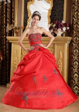 Red Embroidery Strapless Floor-length Sweet 16 Dress