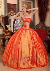 Winter Orange Red Floor-length Appliques Sweet 16 Dress