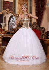 2013 White Tulle Sequins Floor-length Sweet 16 Dress