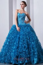 Blue Beading Ruffles Brush Train A-Line Quinceanera Dress