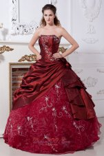 Wine Red Taffeta Organza Embroidery Quinceanera Dress