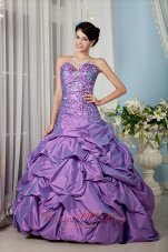Lavender A-line Sweetheart Beading Floor-length Sweet 16 Dress