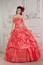 Watermelon Red Bead Pick-ups Strapless Quinceanera Dress