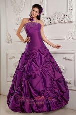 Eggplant Purple Beading Embroidery Sweet 16 Dress Taffeta