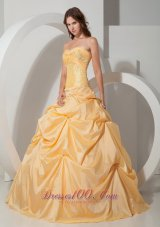 Yellow Sweetheart Floor-length Pick-ups Quinceanea Dress