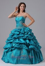 Turquoise Ruch Bead Pick-ups Floor-length Quinceanea Dress