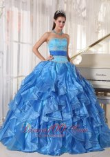 Blue Appliques Paillette Floor-length Quinceanea Dress