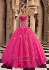 Hot Pink Quinceanera Dress Floor-length Beading