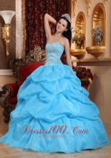 Aqua Blue Quinceanera Dress Bead Pick-ups Sweetheart Designer