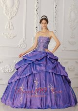 Purple Quinceanera Dress Strapless Appliques Beading Embroidery