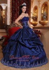 Navy Blue Quinceanera Dress Appliques Sweetheart Floor-length