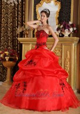 Red Sweet 16 Dress Under 200 Embroidery Floor-length
