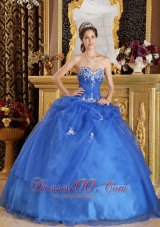 Blue Quinceanera Dress Appliques Sweetheart