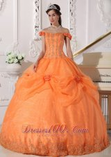 Off Shoulder Orange Quinceanera Dress Appliques Hand Flowers