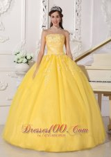 Yellow Appliques Floor-length Quinceanera Dress