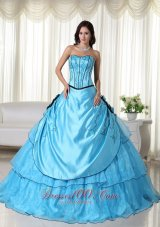 Aqua Strapless Quinceanera Dress Bead Strapless