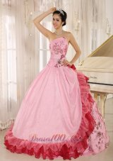 2013 Quinceanera Dress Appliques Hand Flowers Strapless