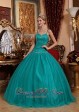 Teal Spaghetti Straps Quinceanera Dress Under 200 Beading